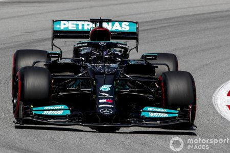 Lewis Hamilton was fastest in yesterday's practice race for tomorrow's  Spanish Grand Prix.