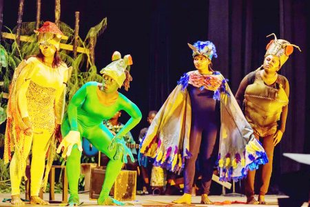 """A scene from a 2016 production of """"Ti Jean and His Brothers"""" at the National Cultural Centre (Photo from the National Drama Company of Guyana's Facebook page)"""