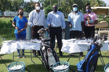 Yesterday morning, the Guyana Golf Association (GGA) handed over equipment and balls to Region 3's Regional Education Officer, Devendra Persaud, Regional Executive Officer, Jainarine Somwar and Regional Vice Chairman, Omesh Satayannand and various teachers at the Vreed-en-Hoop headquarters. Later that afternoon, the handover continued at the Woolford Avenue ground with Director ofSports, Steve Ninvalle in attendance as several million dollars of equipment was designated for the youth and school programmes in Guyana.