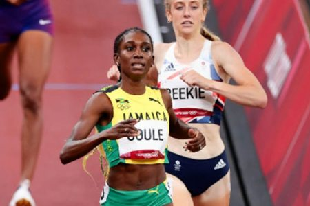 Natoya Goule of Jamaica leads home Great Britain's Jemma Reekie.