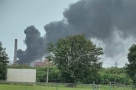 Smoke billows from the plant (Jamaica Observer photo)