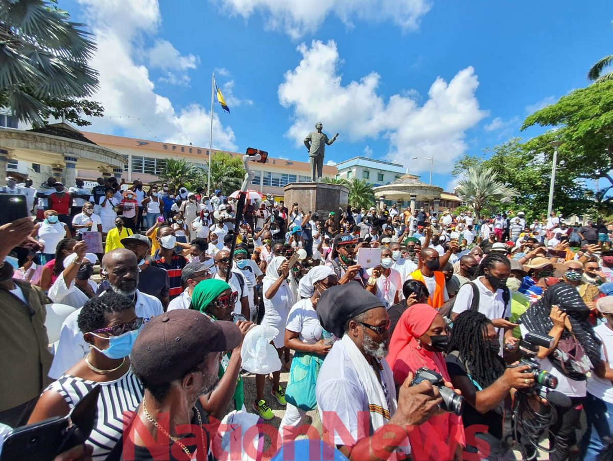 The marchers gathered in Independence Square (Barbados Nation/Reco Moore photo)