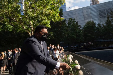 President Irfaan Ali yesterday morning attended a Memorial and Tribute Ceremony to commemorate the 20th anniversary of the 2001 September 11th attacks. The ceremony was held at the National 9/11 Memorial & Museum in Greenwich Street, New York. Around three dozen Guyanese perished in the 9/11 terrorist attacks. President Ali and a team of Government officials are in New York for this week's 76th Session of the United Nations General Assembly. (Office of the President photo)