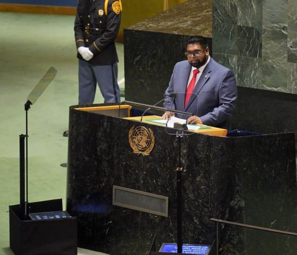 President Irfaan Ali addressing the UN General Assembly (Office of the President photo)