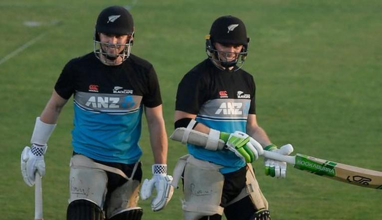 New Zealand's Henry Nicholls and Tom Latham during a practice session in Rawalpindi on Thursday