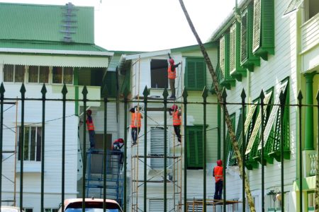 State House is being repainted white, its traditional colour.  Under former President David Granger, the edifice had been controversially painted in hues of green.