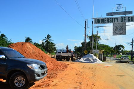 Road works in the vicinity of the University of Guyana yesterday.