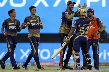 Rahul Tripathi of Kolkata Knight Riders celebrates their team's win  against the Delhi Capitals in Qualifier 2 of the IPL  held at the Sharjah Cricket Stadium, Sharjah in the United Arab Emirates yesterday. Photo by Rahul Gulati / Sportzpics for IPL
